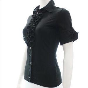 Anne Fontaine Black Blouse Short Sleeve